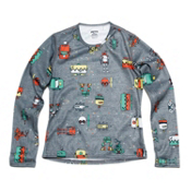 Hot Chillys Skins Print Crewneck Kids Long Underwear Top, Bots Charcoal, medium