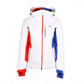 KJUS Formula Womens Insulated Ski Jacket, White-Fiery Red-Dazzling Blue, medium
