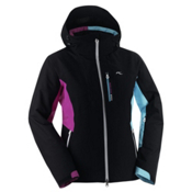 KJUS Formula Womens Insulated Ski Jacket, Black-Fuchsia Red-Blue Atoll, medium