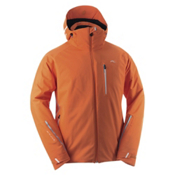 KJUS Formula Mens Insulated Ski Jacket, Red Orange-Blue Atoll, medium