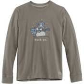 Life Is Good Crusher Long Sleeve Rock On Snowman Kids Shirt, , medium