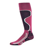 Point6 Ski Light Womens Ski Socks, Fuchsia-Black, medium