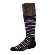 Point6 Stripe Kids Ski Socks, Black-Teal, medium