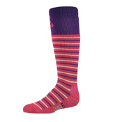 Point6 Stripe Girls Ski Socks, Fuchsia-Silver, medium