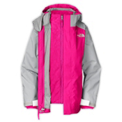 The North Face Fallon Triclimate Girls Ski Jacket, Razzle Pink-Metallic Silver, medium