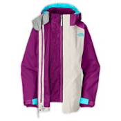 The North Face Fallon Triclimate Girls Ski Jacket, Ether Gray-Premiere Purple, medium