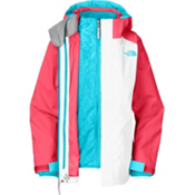 The North Face Fallon Triclimate Girls Ski Jacket, Tnf White-Teaberry Pink, medium