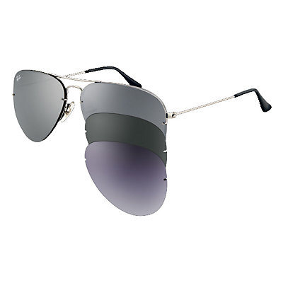 Ray-Ban Aviator Flip Out Sunglasses, Gunmetal, large