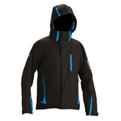 Descente Charger Mens Insulated Ski Jacket, Black-Cobalt Blue, medium