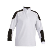Descente Jon T-Neck Mens Mid Layer, Super White-Black, medium