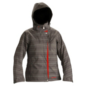 DNA Zoe Womens Insulated Ski Jacket, Grey-Ruby, medium
