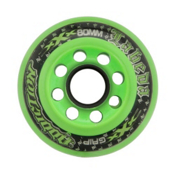 Labeda Addiction XXX Grip Inline Hockey Skate Wheels - 4 Pack, Black-Green, medium