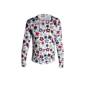 Hot Chillys Mid Weight Print Crewneck Girls Long Underwear Top, Flower Power, medium