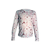 Hot Chillys Mid Weight Print Crewneck Girls Long Underwear Top, Heart Dance, medium