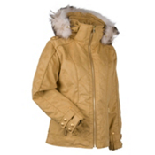 Nils Jacquie Real Fur Womens Insulated Ski Jacket, Camel, medium
