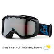 Giro Grade Plus Kids Goggles 2013, Black Santa Cruz Screaming Hand-Rose Silver, medium