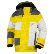Obermeyer Renegade Boys Ski Jacket, Acid Yellow Scrambled Print, medium