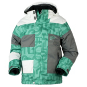 Obermeyer Renegade Boys Ski Jacket, Pool Green Scrambled Print, medium