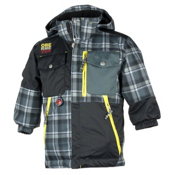 Obermeyer Superpipe Toddler Ski Jacket, Slate Flannel Plaid, medium