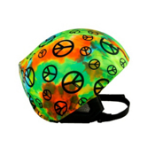 Active Helmets Peace Sign Helmet Cover, Multi Colored Peace Sign, medium