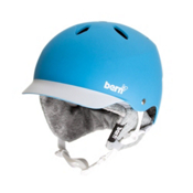 Bern Lenox Womens Hard Hat 2013, Matte Cyan-White Brim-Knit, medium