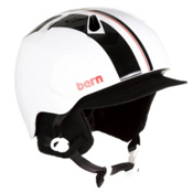 Bern Nino Kids Helmet 2013, Gloss White Stripe-Visor Knit, medium