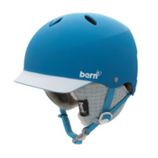 Bern Lenox EPS Womens Helmet 2013, Matte Cyan-White Brim-Knit, medium