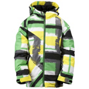 Ride Hemi Boys Snowboard Jacket, Painted Plaid Print Green, medium