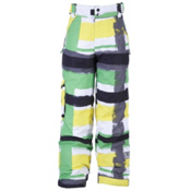 Ride Charger Kids Snowboard Pants, Painte Plaid Print Green, medium