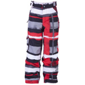 Ride Charger Kids Snowboard Pants, Painted Plaid Print Red, medium