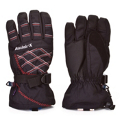 Auclair Stitchy Womens Gloves, Black-Silver-Red, medium