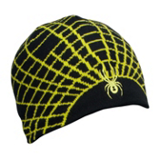 Spyder Web Kids Hat, Black-Sharp Lime, medium