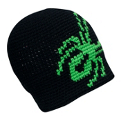 Spyder Creeper Hand Knit Kids Hat, Black-Classic Green, medium