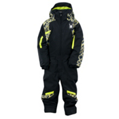 Spyder Mini Journey Toddlers One Piece Ski Suit, Black-Lime Mosaic Print-Sharp, medium