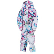 Spyder Bitsy Harness Sassy Toddlers One Piece Ski Suit, White Cross Hatch, medium