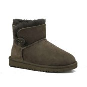 UGG Australia Mini Bailey Button Girls Boots, Chocolate, medium