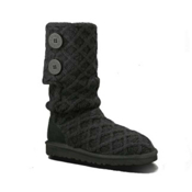 UGG Australia Lattice Cardy Girls Boots, Black, medium