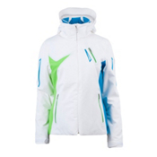 Spyder Artemis Womens Insulated Ski Jacket, White-Coast-Green Flash, medium
