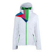 Spyder Power Athletic Fit Womens Insulated Ski Jacket, White-Classic Green, medium