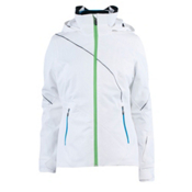 Spyder Menage A Trois Womens Insulated Ski Jacket, White-Green Flash-Coast, medium