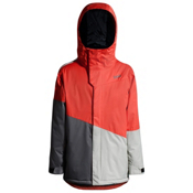 Orage Pack Boys Ski Jacket, Flame-Dark Grey-Light Grey, medium