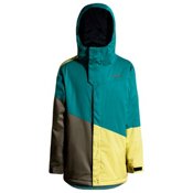 Orage Pack Boys Ski Jacket, Dark Green-Khaki-Lemon, medium