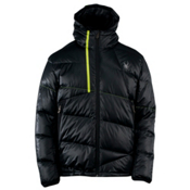 Spyder Upside Down Mens Insulated Ski Jacket, Black-Sharp Lime, medium