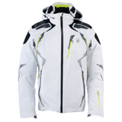 Spyder Pinnacle Mens Insulated Ski Jacket, White-Black-Sharp Lime, medium