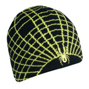 Spyder Web Ski Hat, Black-Sharp Lime, medium