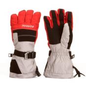 Gordini Gore-Tex II Junior Ski Kids Gloves, Clay Grey-Fire Engine Red, medium