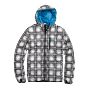 Burton Groton Down Mens Insulated Snowboard Jacket, True Black Ghost Plaid, medium
