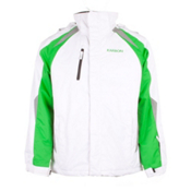 Karbon Pluto Mens Insulated Ski Jacket, Arctic White-Green-Smoke, medium