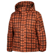 Karbon Seth Boys Ski Jacket, Orange-Black Print, medium