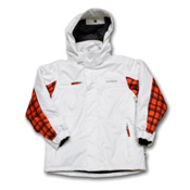 Karbon Ryan Boys Ski Jacket, Arctic White-Flame Axis, medium